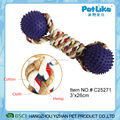 Wholesale bone shape Rope dog toy with TPR ball