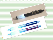 Fancy function plastic lighted led promotional logo ball pen CH-6578