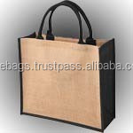 Jute Bags with cord handle and black gusset