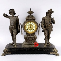 western style antique bronze table clock with two soldiers