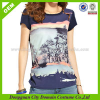 Women's Iron Stone Dye Sublimation Ink Combed Cotton Printing T-shirt (lvt010004)