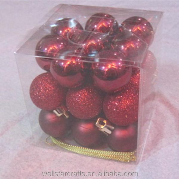 Packaged box 100 wholesale red glass/ plastic christmas ball ornaments