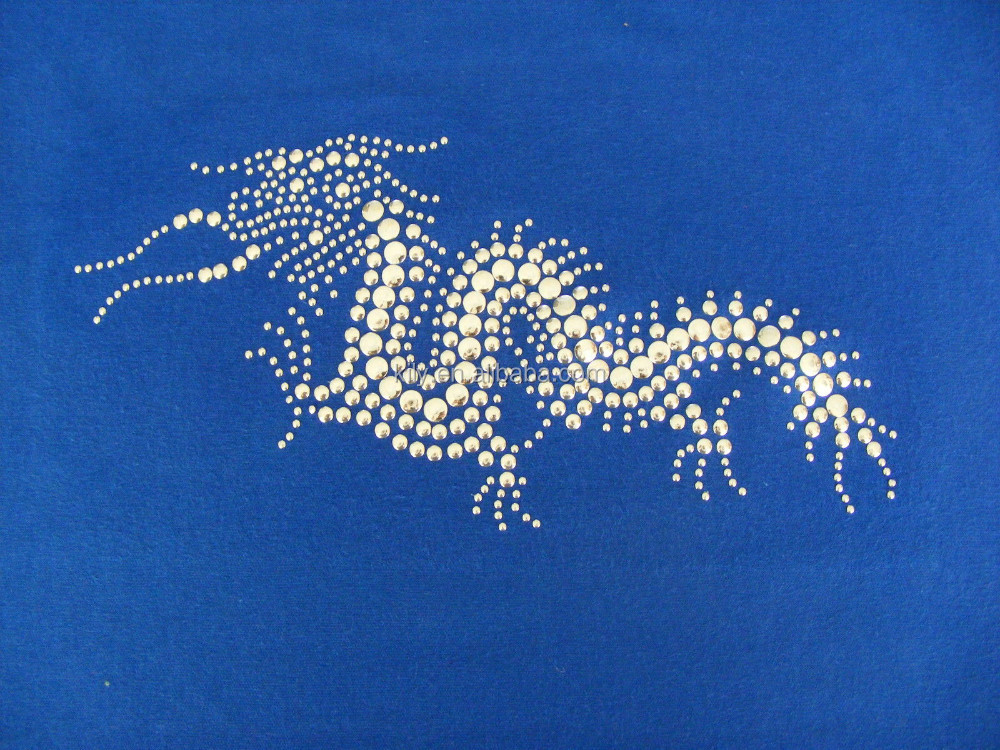 Hot Fix Motif Blue Dragon/Rhinestone Transfer Hot-fix Strass Motif Custom-made