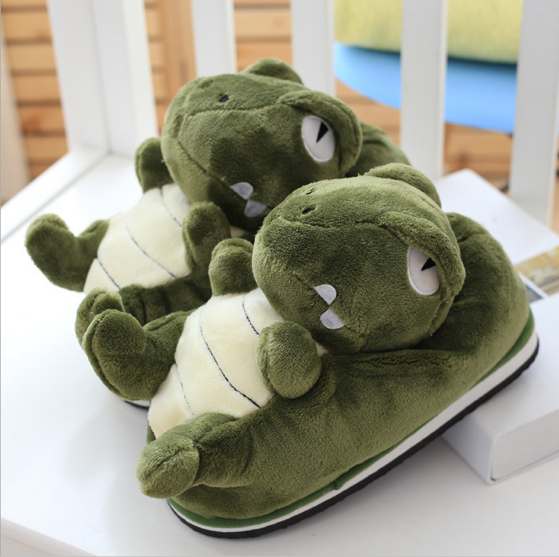The dinosaur shape soft plush indoor <strong>slippers</strong>