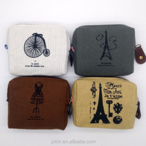 Wholesale Yiwu supplier creative square retro key small wallet cavas lovely fancy coin purse