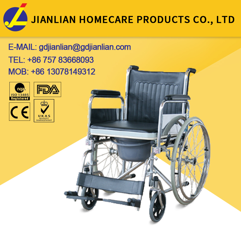 Disabled folding commode wheelchair handicapped commode chair with wheels JL681
