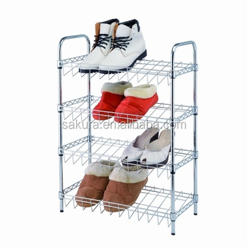 4TIER METAL WIRE WITH STANDER SHOES RACK,STORAGE RACK, 4 TIER SHOES SHELF AF-135025A4