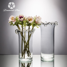 decorative tall clear flower vase glass with ruffle mouth