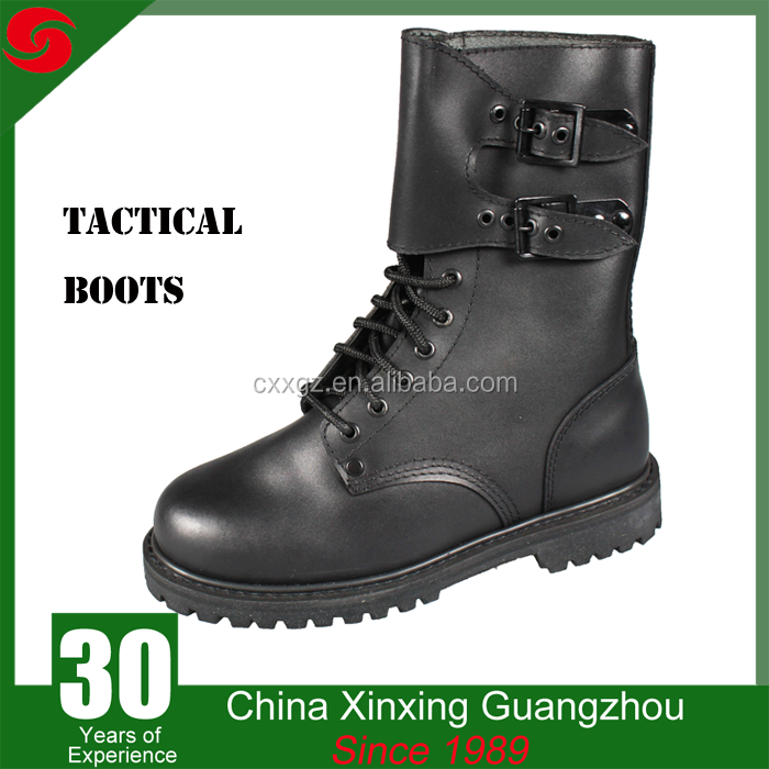 Waterproof Military Army Tactical genuine leather rubber outsole black boots for men