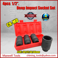 "Hot Sale Kit 4PC 1/2"" Drive 12 Point Metric Deep Wall Impact Socket Set"