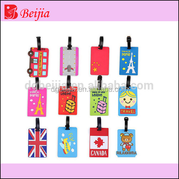 Cartoon Design Trolly Luggage Tag Wholesale/Traveling Bag Silicone Rubber Hang Tag Label/Promotional Gift Suitcase Name Tag