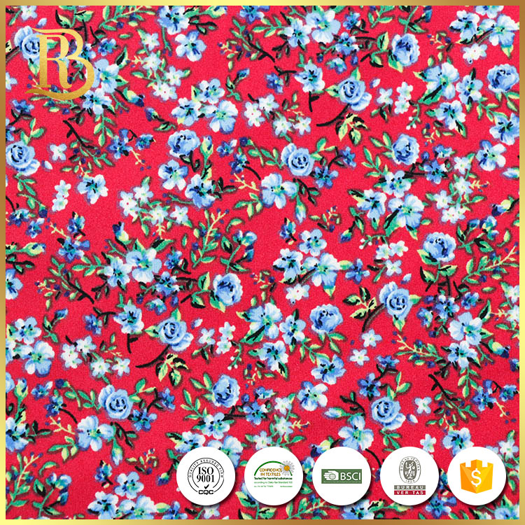 China supplier slub knit jersey african floral digital printed fabric