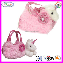B639 Fancy Plush Pink Pet Carrier Bag Shiny Soft Wholesale Pet Carrier