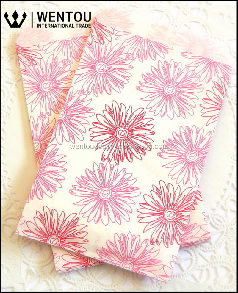 Printed Pink Flower Craft Paper Pags Candy Paper Bags