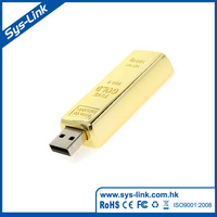 Gold bar shape with 999 gold mark mini size USB flash drive