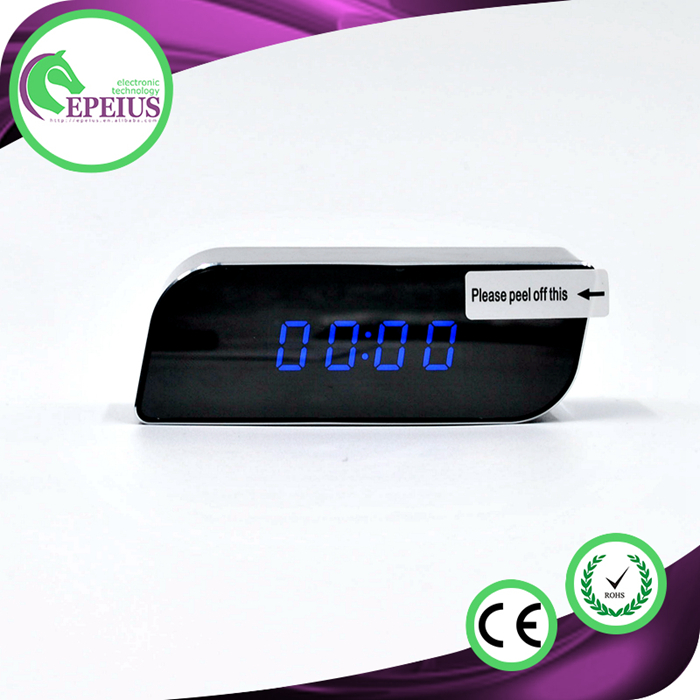2016 Hidden Camera Alarm Clock 1280*720p H.264 p2p IR night vision wifi clock ip camera