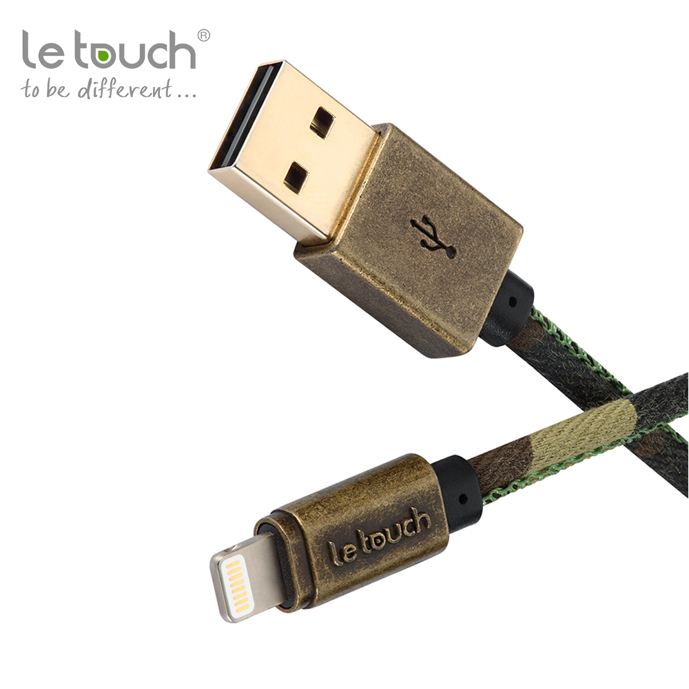 Gold supplier letouch brand Stylish sewing craftsmanship mfi 8 pin usb data camouflage <strong>cables</strong> for Apple devices