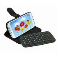 Removable Wireless Bluetooth Keyboard Leather Skin Case Cover Protector for Samsung Galaxy S4 i9500