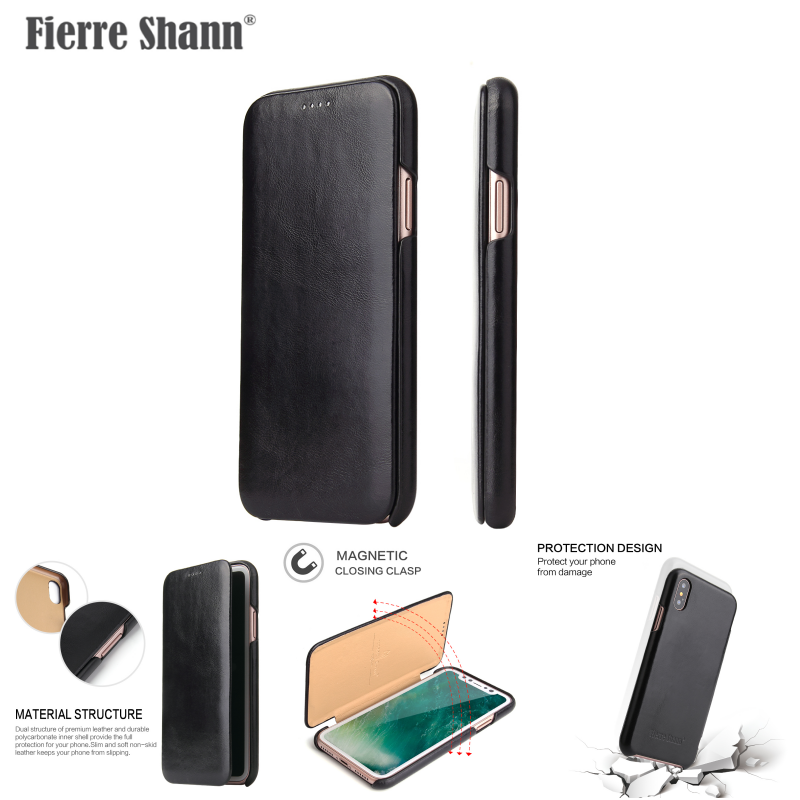 Best Selling Luxury Flip Mobile Real Genuine Leather Phone Case For Iphone X