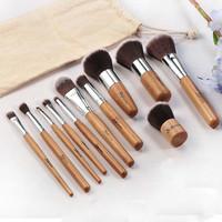 Professional 11pcs Wood Cosmetic Make Up Brushes Set Face Powder For Bobbi Brown
