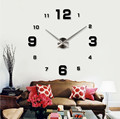 Big Home decoration!oversize digital mirror number eva wall clock home decor