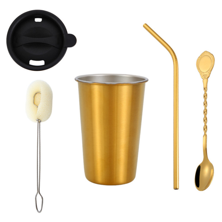 500ML stainless steel straw cup beer cocktail cup
