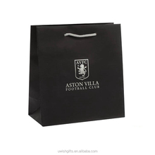 Black color luxury hot stamping logo custom shopping famous brand paper bag