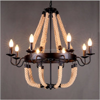 Vintage rustic small 3/5/8-light wooden chandelier,loft industrial wrought iron pendant lamp with CE/UL