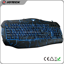 2015 the latest 3 colors LED light crack backlit professional gaming computer keyboard---JK666