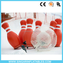 Jumbo inflatable bowling pins Indoor outdoor giant bowling game with zorb ball