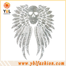 Low lead High quality crystal wing with skull design T shirt