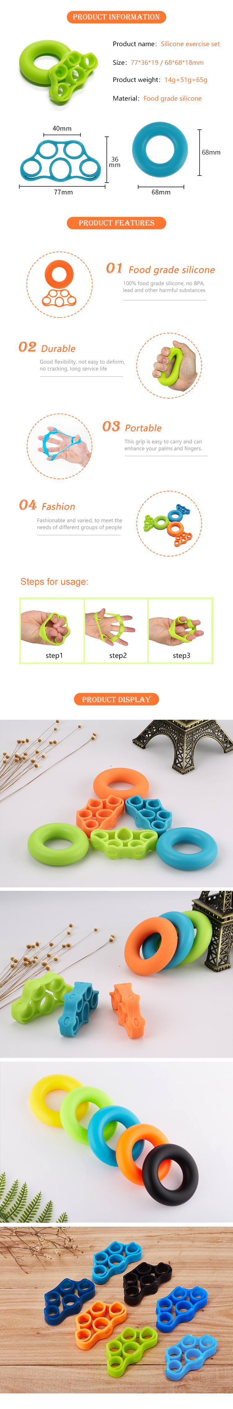 Factory Price Silicone Body Fitness exercise set fingers gripper hand strenthener sets