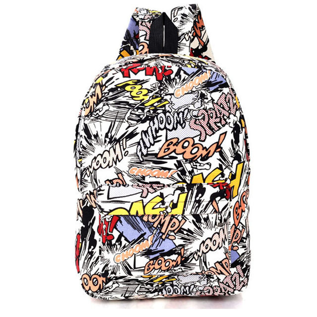 Hippie 2016 Canvas Backpacks Student School Bag Cartoon Print Rucksack Travel Pack Laptop Graffiti Bolsa Mochila Escolar XA1065C