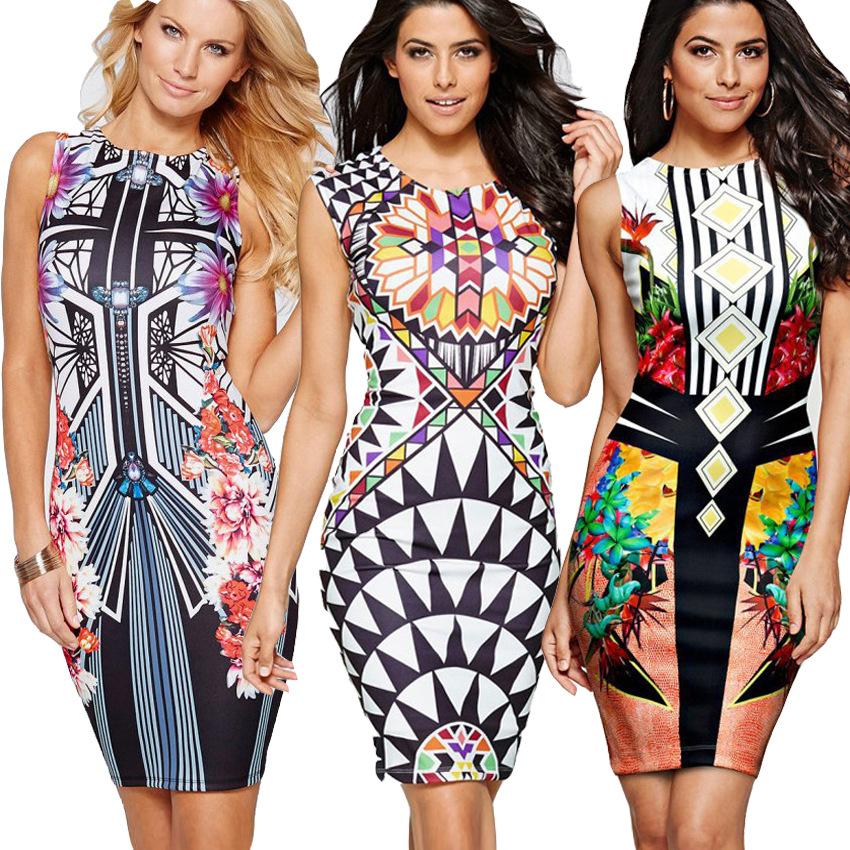 2017 Nouvelle Mode Sexy Imprimé Floral Casual Robe D\u0027été Femmes Robes  Moulante Crayon robes
