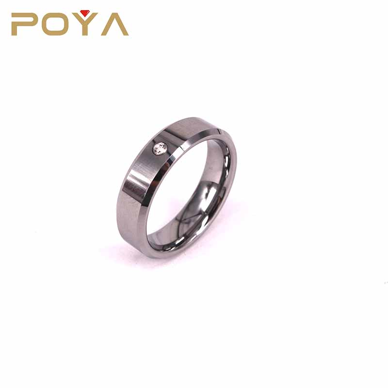 POYA Jewelry Men's Wedding Bands,Polished Tungsten Rings with Cubic Zirconia Beveled Edges, Anniversary Rings for Men and Women