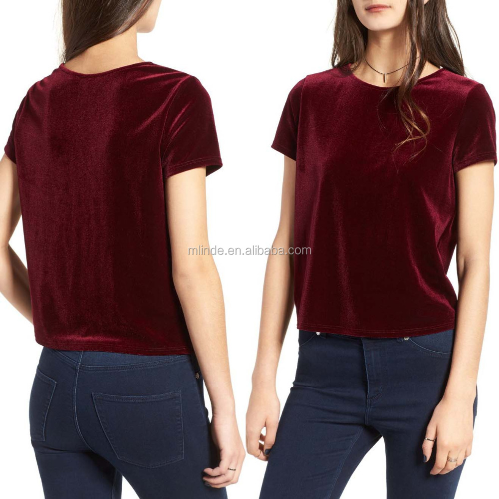 OEM Latest Deisgns Women Fashion Short Sleeve Velvet Clothing Saree Blouses Tee Tops Wholesale Custom Made in China