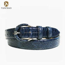 Faux Blue Python Belt with Full Leather Cover Buckle