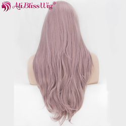 Women Daily Wear Long Wavy Ash Grey Pink Glueless Synthetic Full Hair Lace Front Wigs