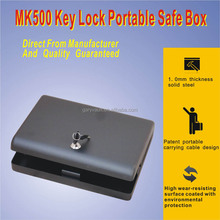 Whosale--MK500 Micro Safe car hand gun pistol portablel home key lock metal storage safe box (lock with key), steel gun box