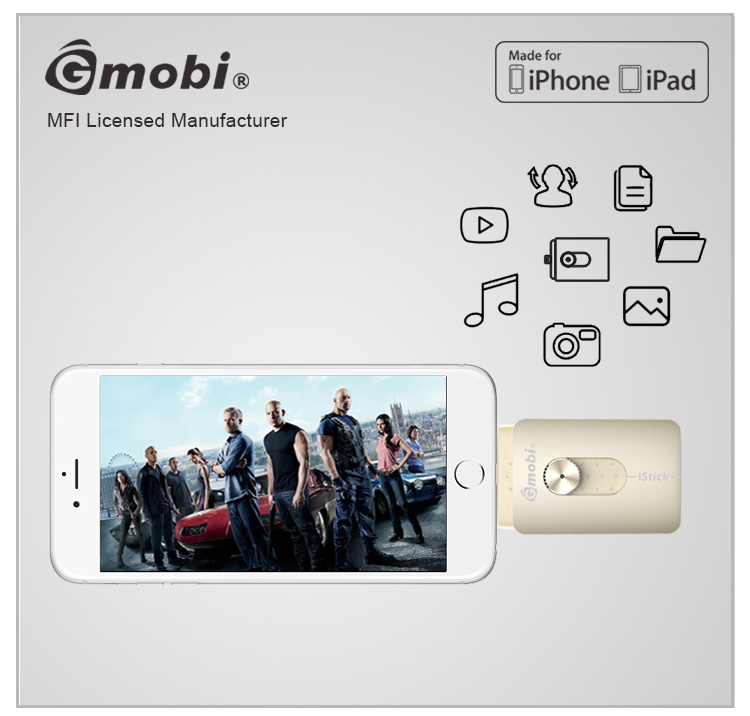 Top selling MFi approved USB funny flash memory with lighning/micro usb/usb 2.0 Built-in Made for iPhone/iPad/Android
