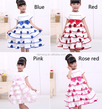 Round-neck short sleeve wedding medium-length girls dresses for 6years old