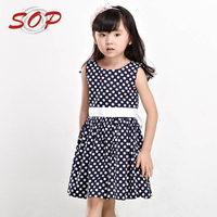 2016 Spring Summer Wholesale Fancy Design Polka Dot Cotton Dresses For Girls Of 6 Year Old