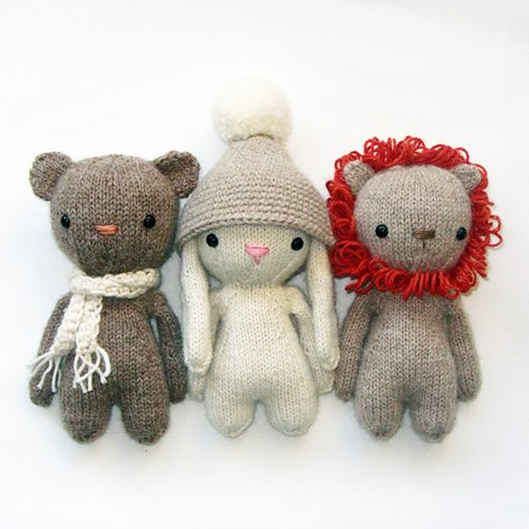 Custom knitted plush doll with safe cotton material