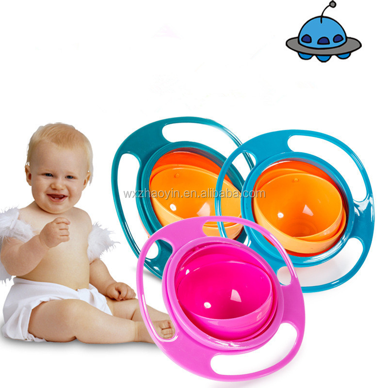 Food Grade No spill Baby Gyro Bowl Universal Baby Flying Saucer Toy Bowl
