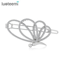 LUOTEEMI Wholesale Stock Luxury Women Cubic Zirconia Fashion Bridal Butterfly Hair Clips For Weddings
