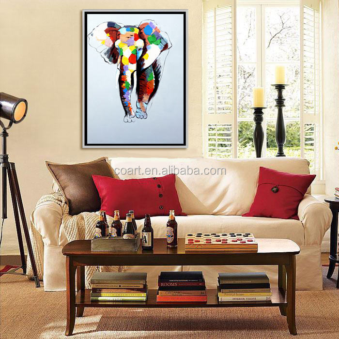 handpainted modern abstract elephant oil painting on canvas