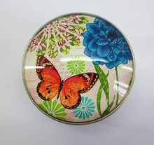 butterfly antique small round crystal glass metal trinket box