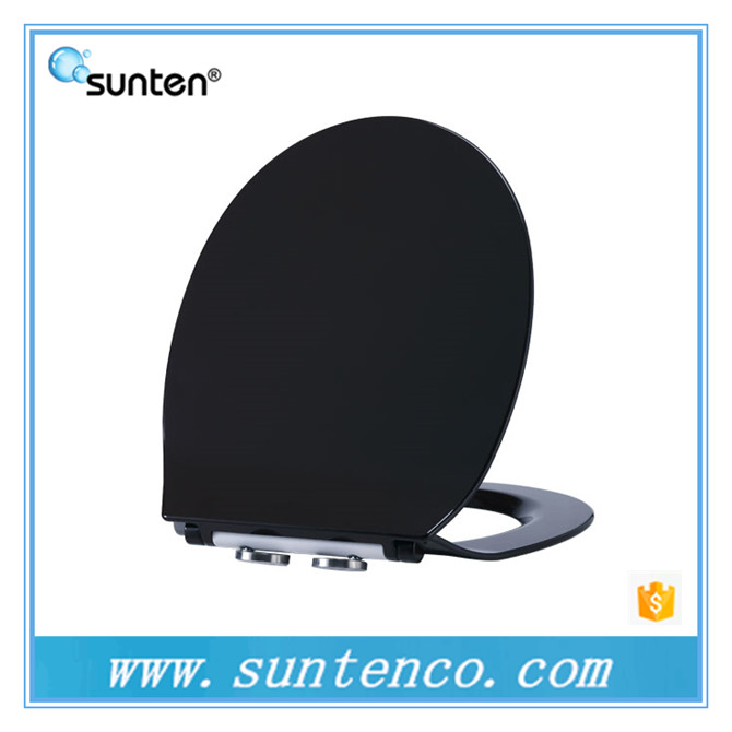 Soft Closing Feature Ultra Slim Oval Shape Black Ceramic Toilet Seat