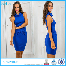 Elegant ladies designer high neck bandage dress in colour royal blue