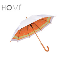 Homi orange fruit print inside double layer straight wooden shaft umbrella